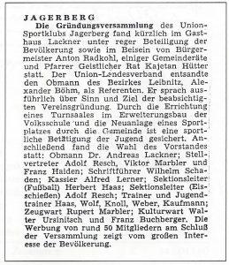 Die Teilnehmerliste der Gründungsversammlung vom 05. Dezember 1970
