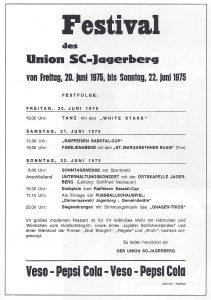 Flyer für das Sportplatzeinweihungsfestival